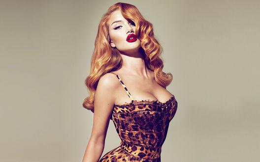 Обои Девушка с красными губами  в леопардовом платье