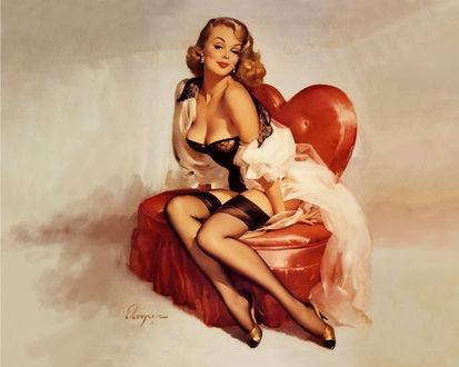 Обои Девушка в черном лифчике и черных чулках в белой накидке сидит на красном кресле в виде сердца