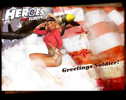 Обои Плакат к игре Heroes over Europe с девушкой в стиле пин-ап на фоне военного самолёта и флага (Greetings Soldier!)