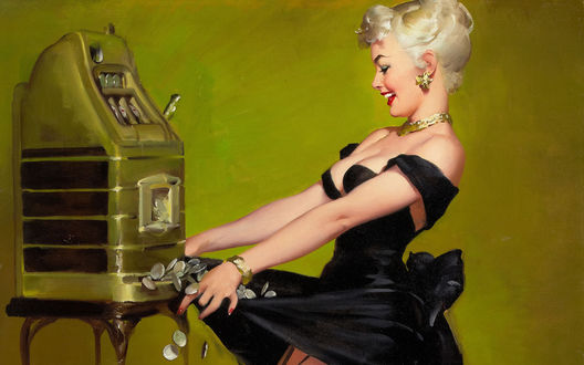 Обои Блондинка-хохотушка у игрового автомата собирает выигранные монетки в подол черного платья