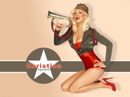 Обои Певица Кристина Агилера / Christina Aguilera c трубой в руке в образе пинап