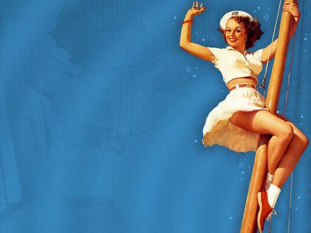 Обои Миловидная девушка в белом наряде машет вам рукой, спускаясь по мачте