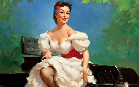Обои Очаровательная сеньорита в белом пышном платье улыбается, выходя из ретро авто, в стиле pin-up