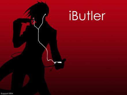 Обои Sebastian Michaelis / Себастьян Михаэлис из аниме Тёмный дворецкий / Kuroshitsuji в рекламе iPod (iButler iSupport KIRA)