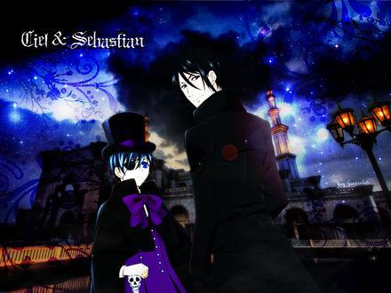 Обои Сиэль и Себастьян из аниме Тёмный дворецкий / Kuroshitsuji (Ciel & Sebastian by Suzuka)