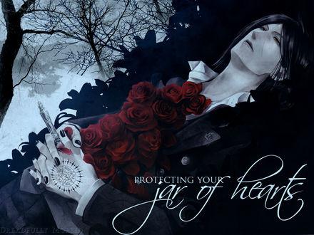 Обои Себастьян из аниме Тёмный дворецкий / Kuroshitsuji лежит с красными розами и шахматной фигурой в руках (Protecting Your jar of hearts Dreadfully Morbid)