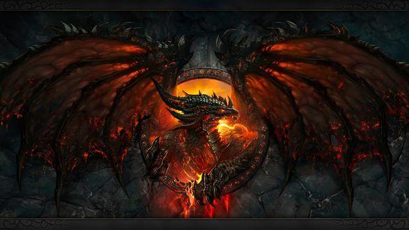 Обои Обои к игре World of Warcraft: Cataclysm - дракон в красном мареве разбушевавшегося огня