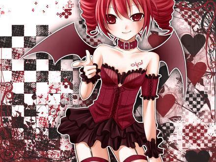 Обои Vocaloid Kasane Teto / Вокалоид Касане Тето (0401) с крылышками демона на фоне абстракции