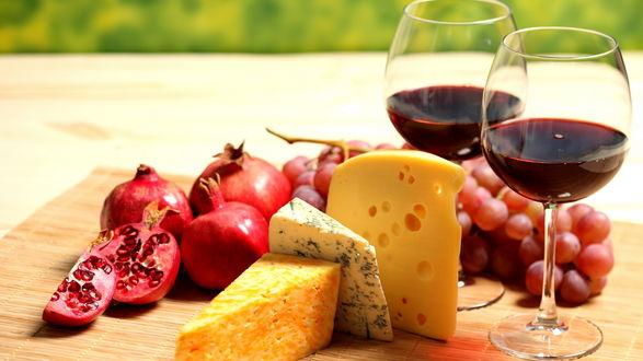 Обои Фрукты, сыр и вино