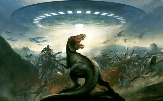 Обои Доисторическая Земля-динозавры воюют против высадившихся с НЛО пришельцев, в небе летают птеродактили-к/ф Динозавры против пришельцев