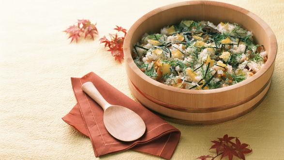 Обои Салат из риса и овощей