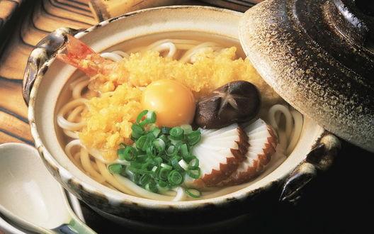 Обои Макароны с грибами и сыром
