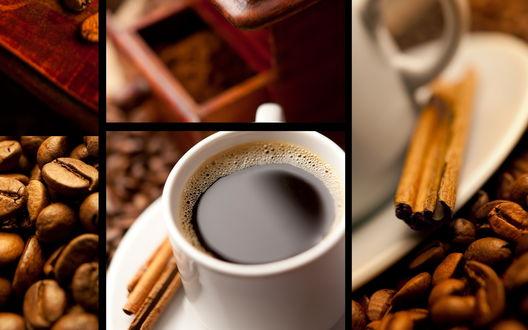 Обои Горячее кофе, зёрна и палочки корицы