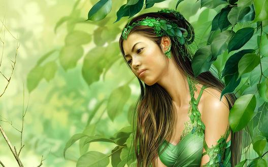 Обои Девушка - азитка стоит в тени лиственного дерева