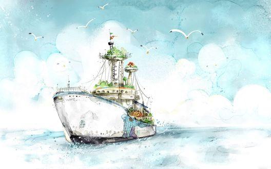 Обои Кораблик плывет по голубому морю в сопровождении чаек