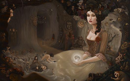 Обои Девушка в пышном платье держит в руках шар в виде луны