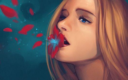 Обои Девушка с цветком на губах
