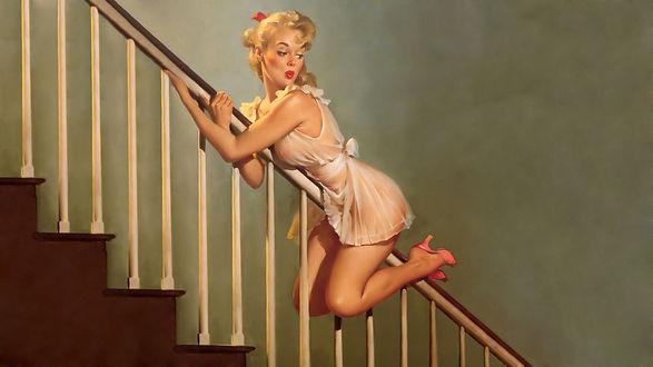 Обои Девушка блондинка в прозрачно платье в розовых туфлях скатывается по лестничным перилам