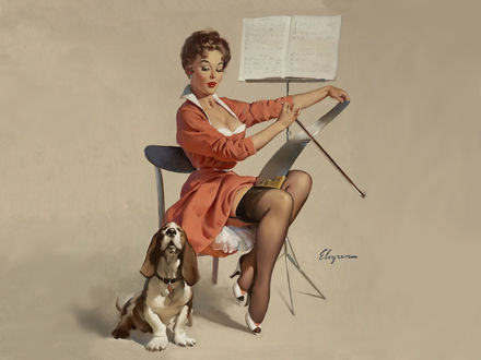 Обои Девушка в красном платье и черных чулках играет а пиле, рядом стоит пюпитр с нотами, а собака породы бассет-хаунд ей подпевает