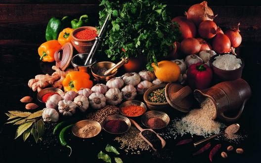 Обои Разнообразные овощи и специи