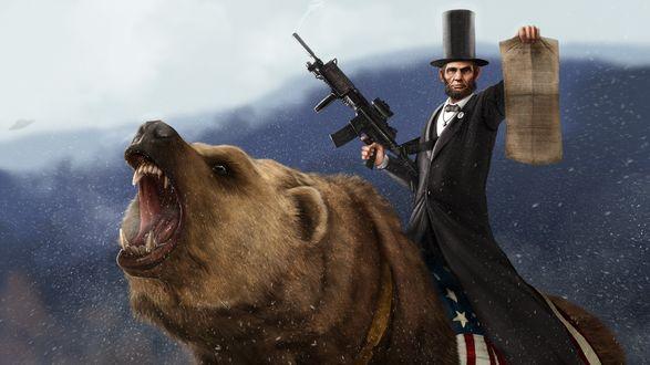 Обои Авраам Линкольн верхом на гризли, в руке он держит Конституцию США, в которую, благодаря его стараниям, была внесена поправка, запрещающая рабство