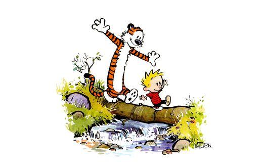 Обои Мальчик с тигром переходят ручей по бревну - м/ф Кальвин и Гоббс (Waterson)