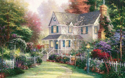 Обои Уютный домик в викторианском стиле ( Томас Кинкейд / Thomas Kinkade)