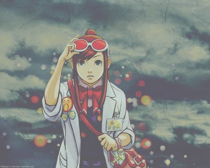 Обои Девушка из аниме-игры Ace Attorney. Gyakuten Saiban на фоне неба (Wallpaper by Tekeshime. Mimitokyo only)