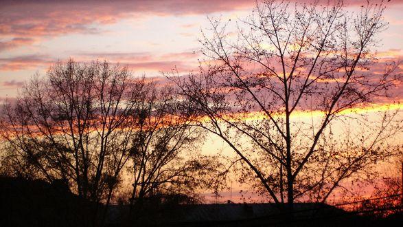 Обои Закат розовеет в осеннем небе
