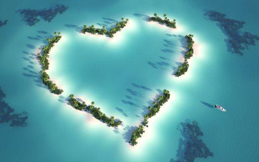 Обои Тропические острова расположены в виде сердечка