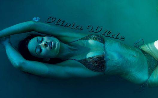 Обои Актриса Оливия Уайлд / Olivia Wilde плавает в темной зеленой воде