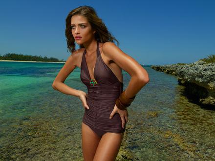 Обои Модель Victoria`s Secret Ана Беатрис Баррош / Ana Beatriz Barros в коричневом купальнике стоит у моря