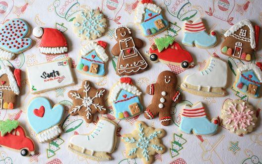 Обои Фигурки из печенья на Рождество (Santa North Pole Rush)