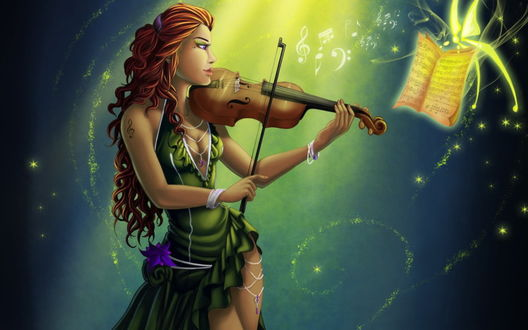 Обои Девушка играет на скрипке, книжку с нотами держит волшебная бабочка