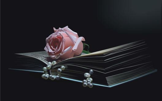 Обои Роза и бусы на книге
