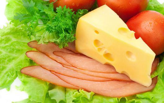 Обои Закуска - сыр, помидоры, мясо, салат, петрушка