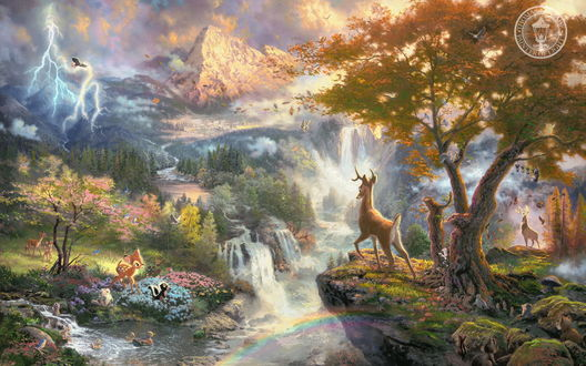 Обои Бэмби в сказочной долине с водопадами (Мультфильм Бэмби)