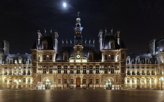 Обои Здание отеля 'Hotel de ville' ночью при свете луны, Париж, Франция