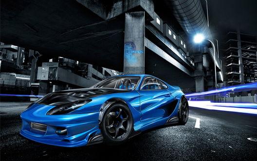 Обои Blue Toyota Supra / голубая Тайота Супра под мостом (Nemesis)