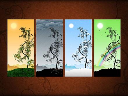 Обои Картины, изображающие четыре времени года - лето, осень, зима и лето