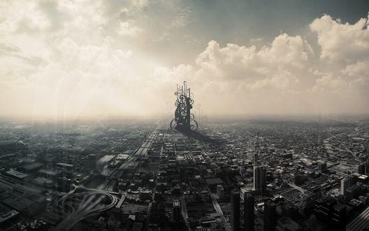 Обои Панорама города с абстрактной фигурой под серым небом