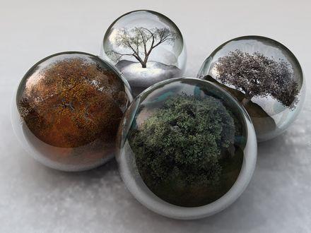 Обои В стеклянных шарах смоделированы четыре сезона - весна, лето, осень, зима,
