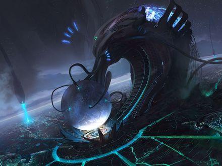 Обои Кибернетический Бог модерирует планету, ему помогают другие киберы