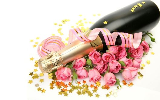 Обои Бутылка шампанского, розы и звездочки