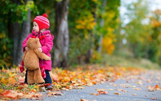 Обои Маленькая девочка с плюшевым мишкой стоит на дороге возле осеннего парка