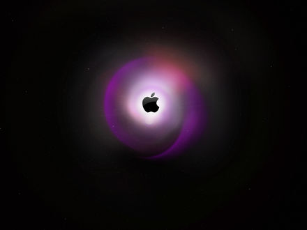 Обои Абстракция - символ Apple на звёздном небе