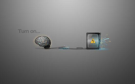 Обои Заряди мозги, картинка мозга и рубильника (Turn on..)