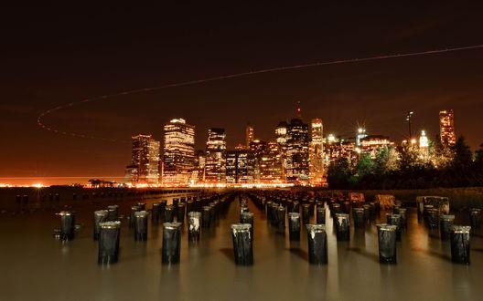 Обои New-York/Нью-Йорк радует глаз огнями домов