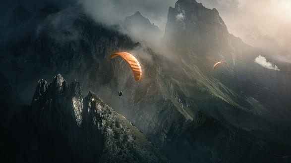 Обои Парашютисты пролетают над скалами, by CarlosTown