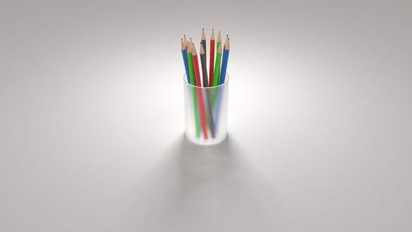 Обои Стакан с цветными карандашами